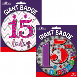 large age 15 birthday badge from cardiff balloons