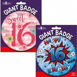 large age 16 birthday badge from cardiff balloons