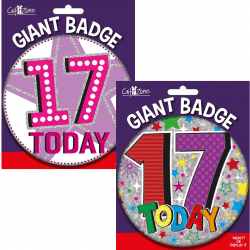 large age 17 birthday badge from cardiff balloons