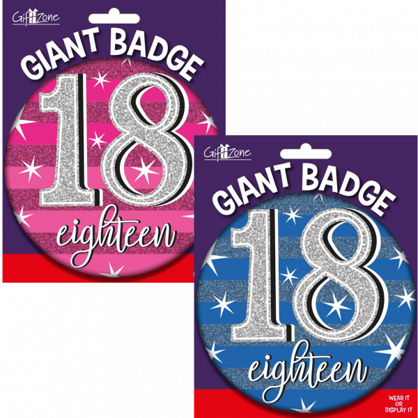 large age 18 birthday badge from cardiff balloons