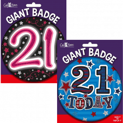 large age 21 birthday badge from cardiff balloons