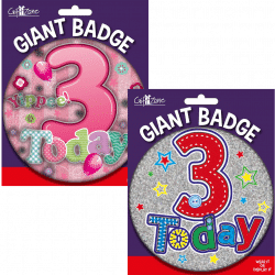 large age 3 birthday badge from cardiff balloons