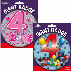 large age 4 birthday badge from cardiff balloons