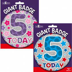 large age 5 birthday badge from cardiff balloons