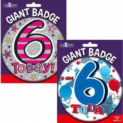 large age 6 birthday badge from cardiff balloons