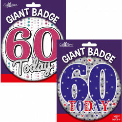 large age 60 birthday badge from cardiff balloons
