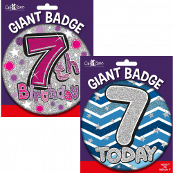 large age 7 birthday badge from cardiff balloons
