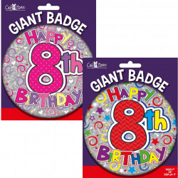large age 8 birthday badge from cardiff balloons