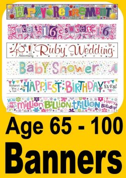 Banners For Birthday Age 70 - 100