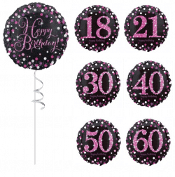 Black And Pink Helium Filled Foil Birthday Balloons