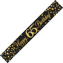 65th Birthday Banner In Black And Gold