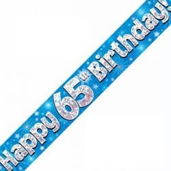 Happy 65th Birthday Banner In Blue From Cardiff Balloons