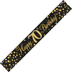 Happy 70th Birthday Banner In Black And Gold From cardiff Balloons