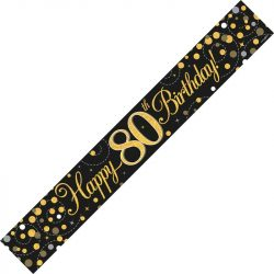 80th Birthday Banner In Black And Gold From Cardiff Balloons