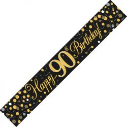 90th Birthday Banner In Black And Gold From Cardiff Balloons