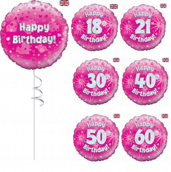 Pink Helium Filled Birthday Balloon