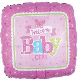 helium filled welcome baby girl foil balloon from cardiff balloons