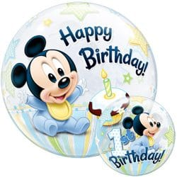 helium filled baby mickey birthday bubble balloon from cardiff balloons