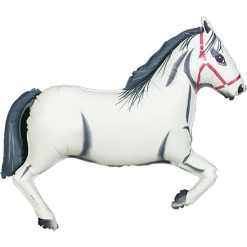 large helium filled white horse balloon from cardiff balloons