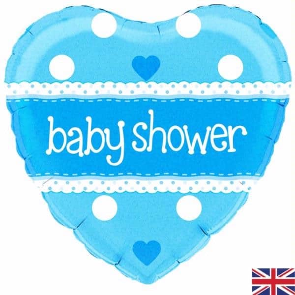 helium filled blue baby shower foil balloon from cardiff balloons
