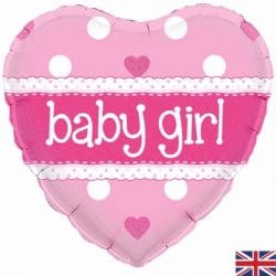 helium filled pink baby girl foil balloon from cardiff balloons