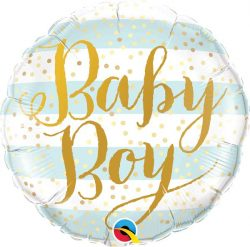 helium filled baby boy foil balloon from cardiff balloons