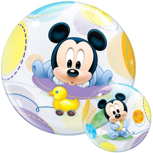helium filled baby mickey mouse bubble balloon from cardiff balloons