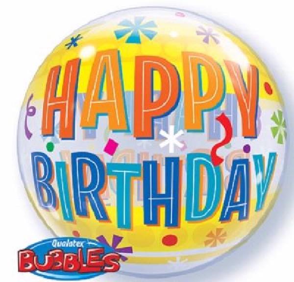 yellow splash themed birthday bubble balloon from cardiff balloons