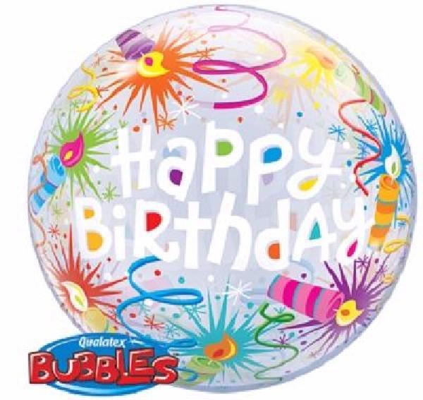 firework themed birthday bubble balloon from cardiff balloons