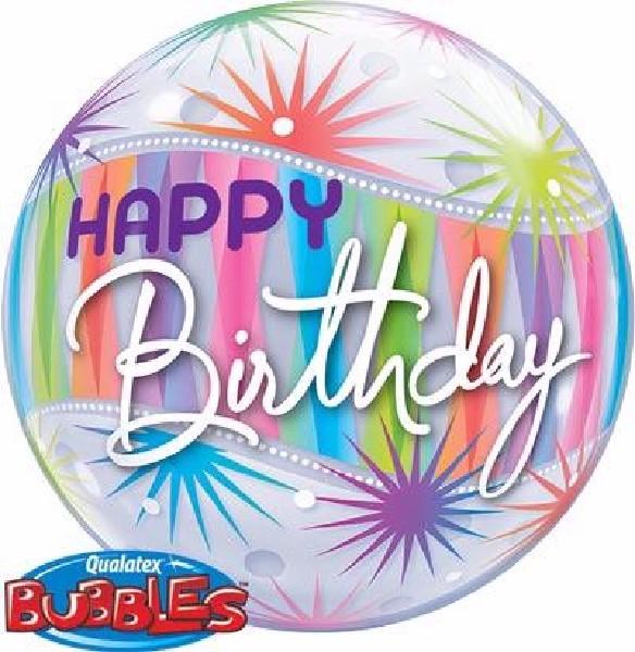 Pastel coloured birthday bubble balloon from cardiff balloons