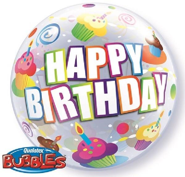 cupcake themed birthday bubble balloon from Cardiff Balloons