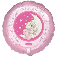helium filled its a girl pink teddy foil balloon from cardiff balloons