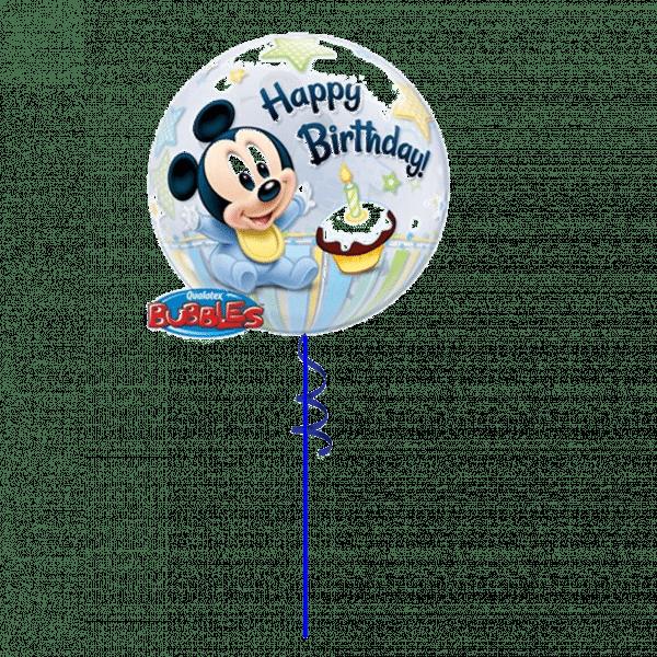1st Birthday Mickey Mouse Bubble Balloon