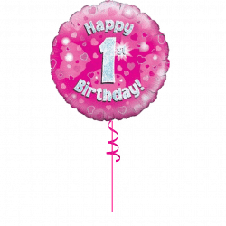 1st Birthday Pink Birthday Balloon From Cardiff Balloons
