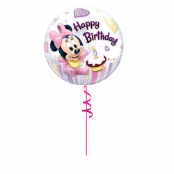 1st Birthday Minnie Mouse Bubble Balloon From Cardiff Balloons