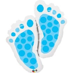 large helium filled baby boy footprint foil balloon from cardiff balloons