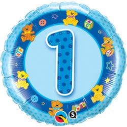 helium filled blue 1st birthday foil balloon from cardiff balloons