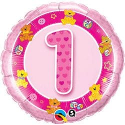 helium filled pink 1st birthday foil balloon from cardiff balloons