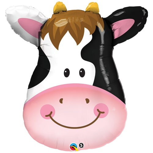 large helium filled cow head foil balloon from cardiff balloons