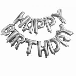 Happy Birthday Balloon Bunting In Silver From Cardiff Balloons