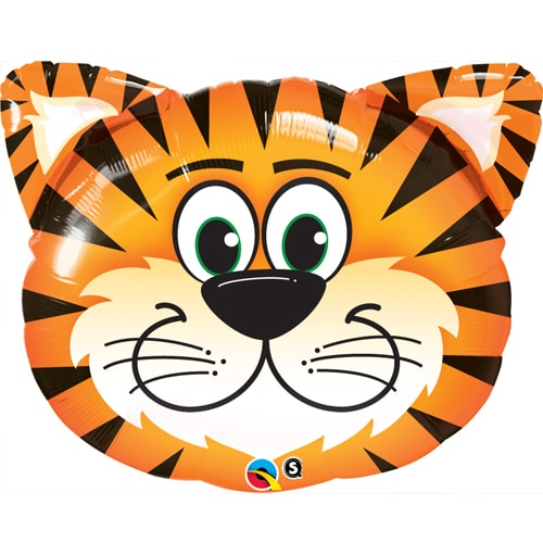 large helium filled tiger head foil balloon from cardiff balloons