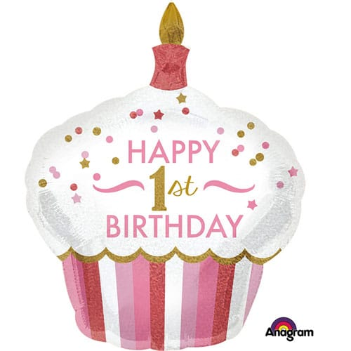 large helium filled pink 1st birthday cake foil balloon from cardiff balloons