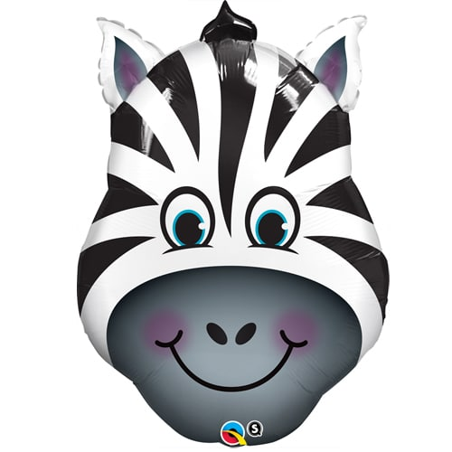 large helium filled zebra head foil balloon from cardiff balloons