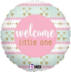 helium filled pink welcome little one foil balloon from cardiff balloons
