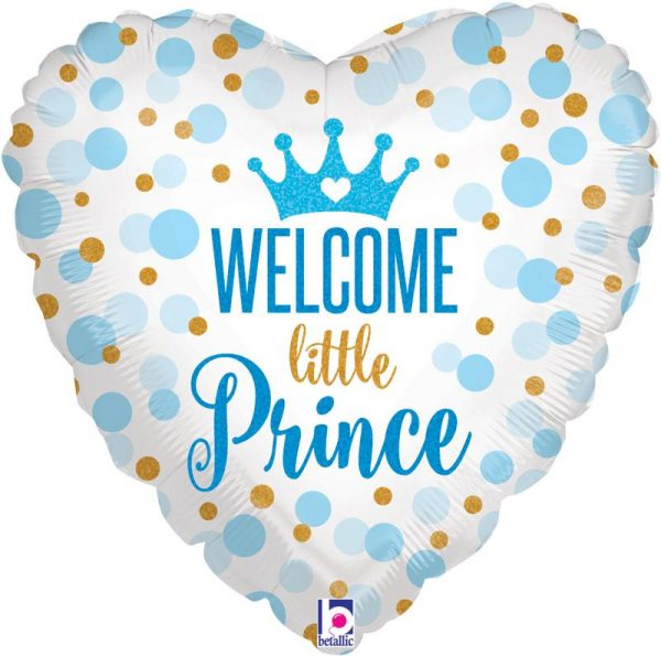 helium filled welcome little prince foil balloon from cardiff balloons