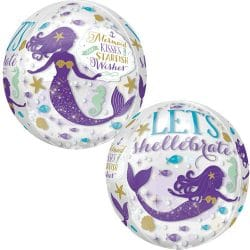 large helium filled mermaid bubble balloon from cardiff balloons