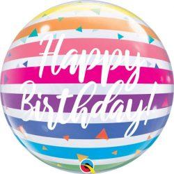 rainbow striped birthday bubble balloon from Cardiff Balloons