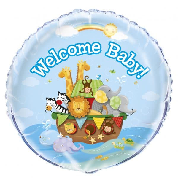 helium filled welcome baby foil balloon from cardiff balloons