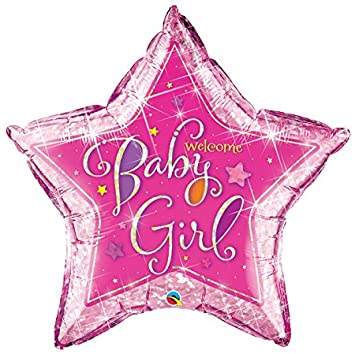 helium filled baby girl star foil balloon from cardiff balloons