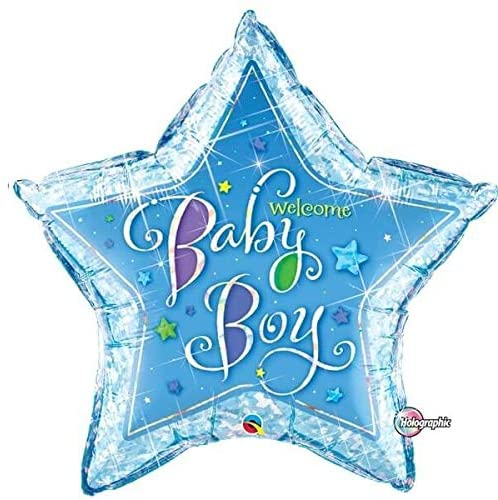 helium filled baby boy star foil balloon from cardiff balloons